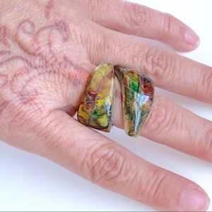 One of a kind Painted Leaf Ring